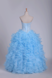 2019 Ball Gown Quinceanera Dresses Sweetheart Beaded Bodice Organza