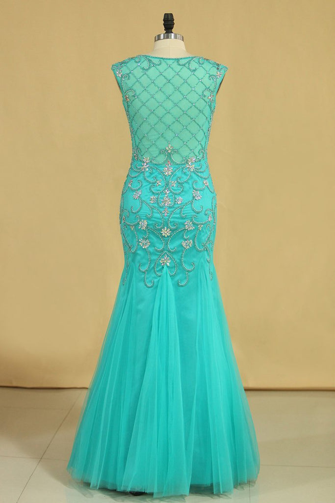 2019 Plus Size Scoop Mermaid Prom Dresses Beaded Bodice Tulle Floor Length