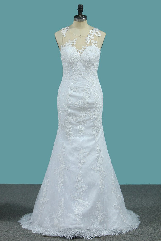 Mermaid  Wedding Dresses Tulle Scoop With AppliqueCourt Train Detachable