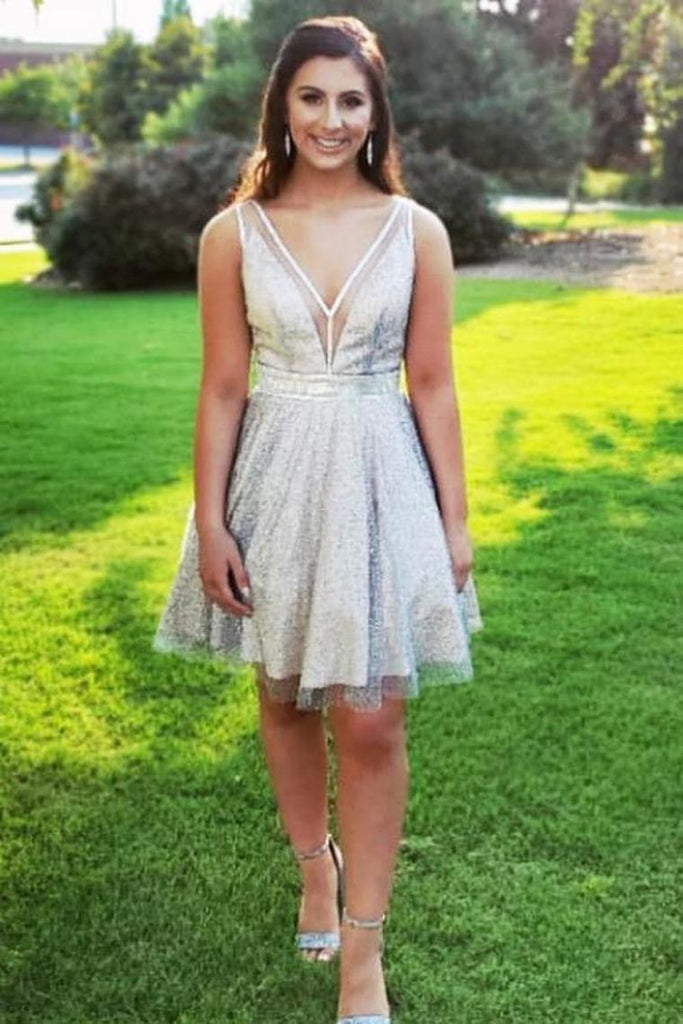 A-Line Short Homecoming Dress Sequin Tulle V Neck