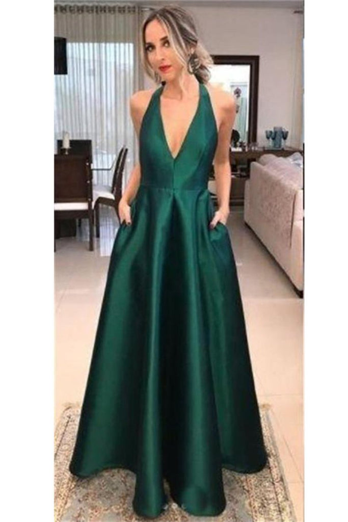 Deep V-Neck Simple Cheap Green Long Open Back Prom Dresses