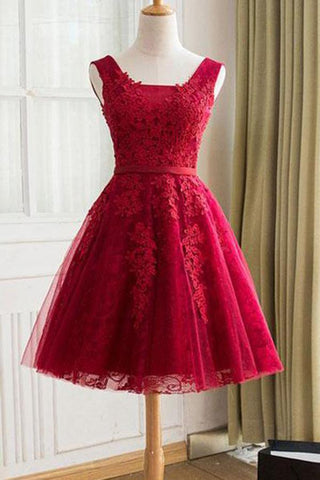 Cute A Line Red Sweetheart Lace Appliques Sleeveless Lace up Homecoming Dresses JS606
