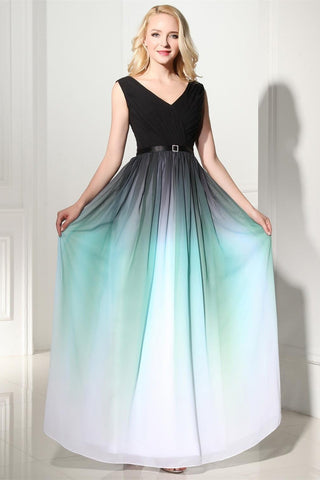 A-Line Ombre Long Chiffon Formal Dress V-Neck Black Sleeveless Lace up Prom Dresses UK JS371