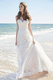 Chic A-Line Sweetheart Backless Lace Beach Spaghetti Straps Long Wedding Dresses JS375