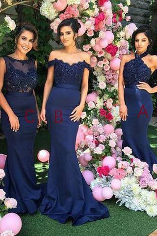 Stylish Halter Open Back Mermaid Navy Blue Bridesmaid Dress with Lace Beading SSM613