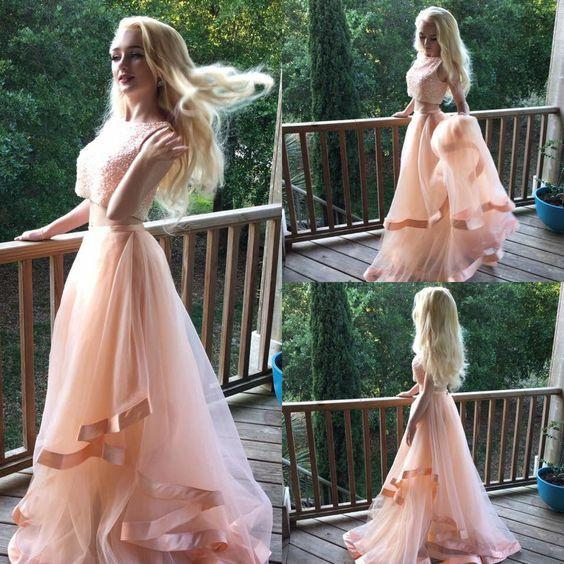 Blush Pink Beaded Two Pieces Fashion Sexy Party Dress Custom Made Prom Dresses JS757