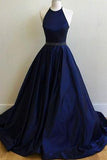 Charming Sexy Simple Halter Navy Blue Sleeveless Ball Gowns Prom Dresses JS771