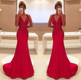 Amazing Mermaid Prom Dress Red Long Chiffon Lace Modest Evening Dresses For Senior Teens JS839