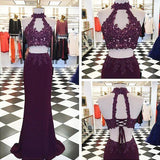 Beading Appliques Halter Stretch Satin Two Pieces Prom Dresses 2019 JS667