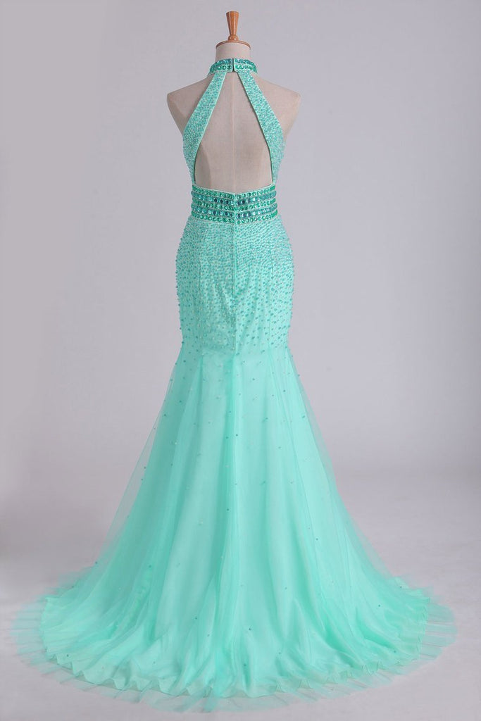High Neck Mermaid Prom Dresses Beaded Bodice Open Back Tulle