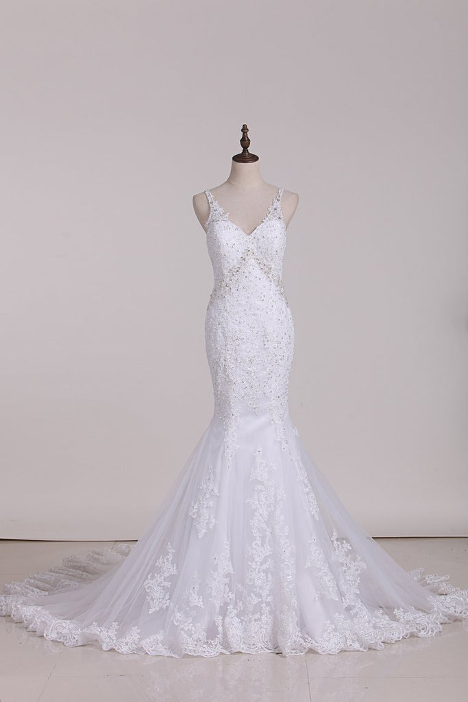 2019 Open Back Mermaid Spaghetti Straps Wedding Dresses Tulle With Applique And Beads