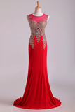 Red Prom Dresses Scoop Mermaid Sweep Spandex With Applique Sleeveless