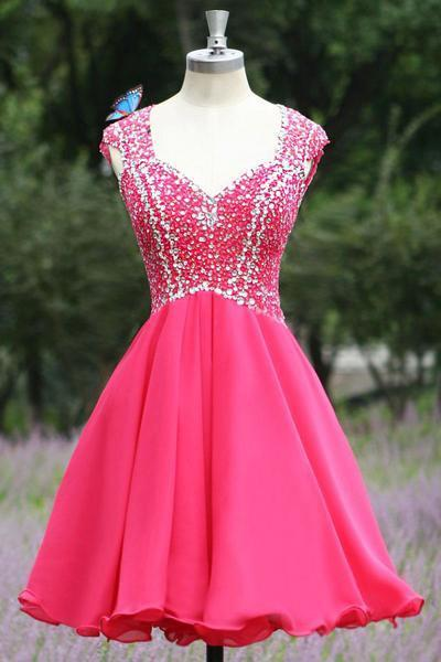 2021 Open Back Hot Pink Short V-Neck Beading Satin Sleeveless Cute Homecoming Dresses JS532
