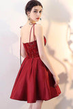 A Line Burgundy V Neck Lace Spaghetti Straps Short Prom Dresses Homecoming Dresses JS966