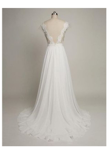 Charming White Chiffon Lace Appliques Long Prom Wedding Dresses