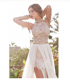 2019 Sexy Lace Backless Long Chiffon High Neckline Halter Side Slit Prom Dress uk Wedding Dress