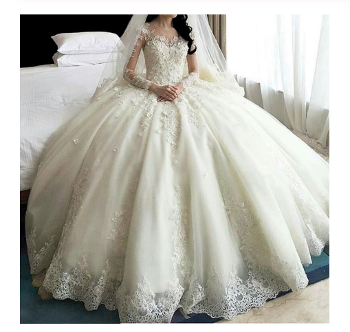 Ball Gown Ivory Sweetheart Sweep Train Long Tulle Long Sleeves Appliques Wedding Dresses