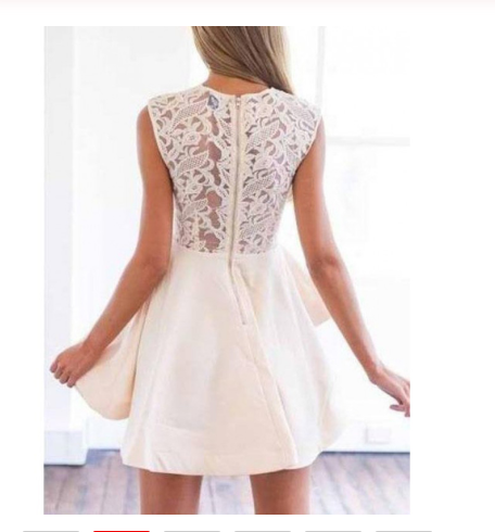Beige Sheer Crochet Lace Panel Sleeveless Layered Skater Dress Cap Sleeve Prom Dresses SSM870