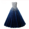 Best Ball Gown Strapless Floor Length Tulle Navy Blue Prom/Evening Dresses with Beading JS858
