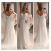 A Line Spaghetti Straps Sweetheart Lace Illusion Sleeves Backless Beach Wedding Dresses JS711