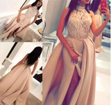 A line Lace Slit High Neck Sleeveless Floor-Length Long Prom Dresses JS811