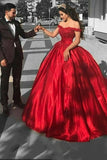 2021 Ball Gown Prom Dresses Off The Shoulder Satin With Applique Sweep Train