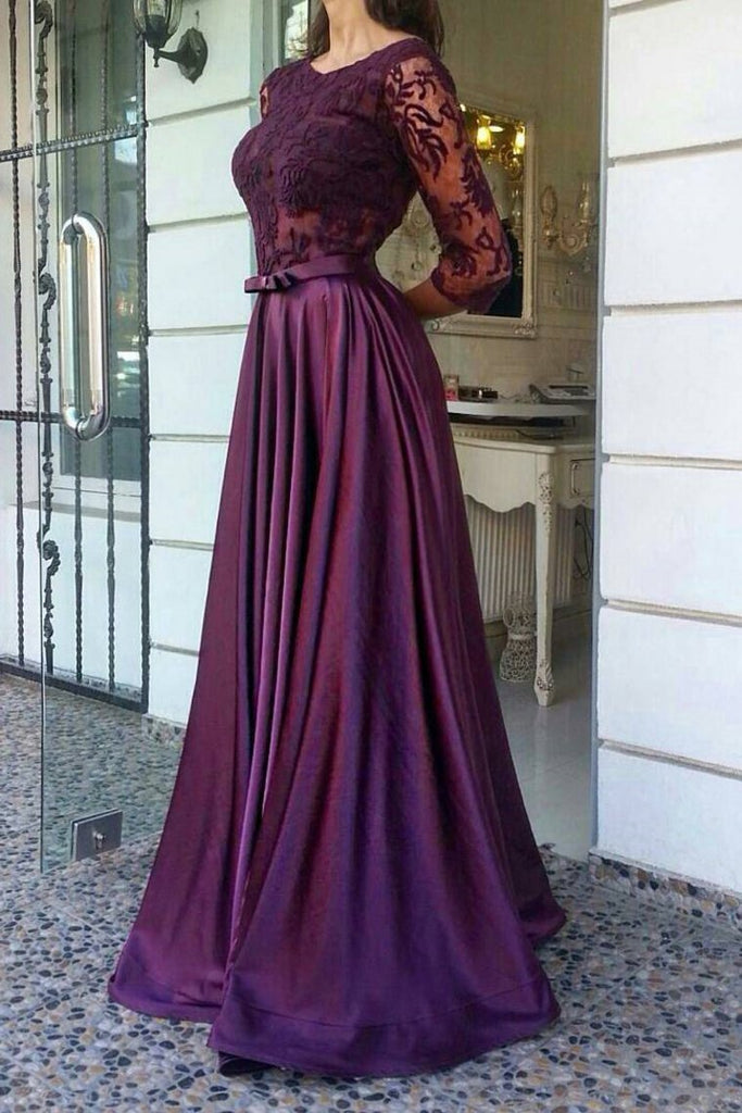 2021 A Line Scoop Prom Dresses Stretch Satin And Lace Bodice With Sash
