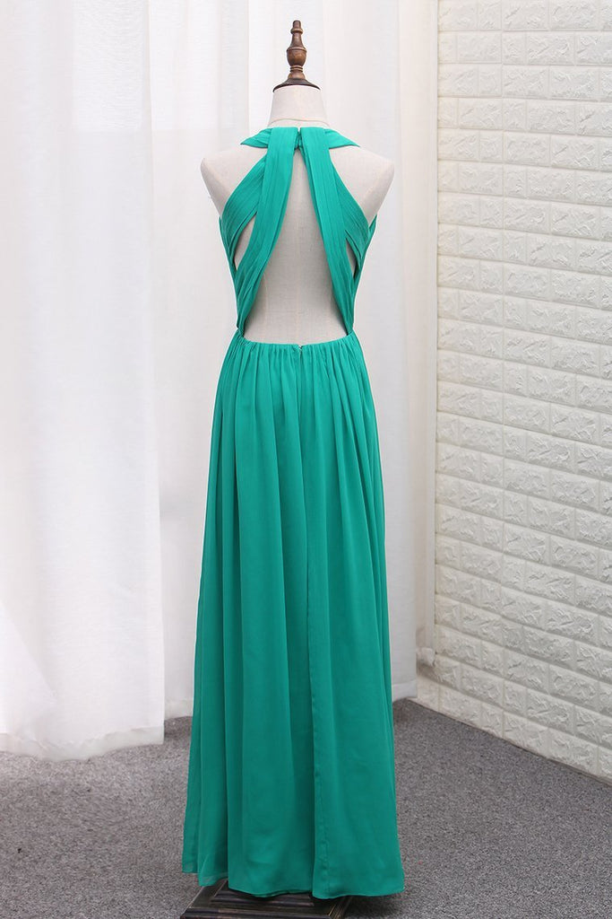 2019 Sexy Open Back A Line Prom Dresses Scoop Chiffon With Ruffles