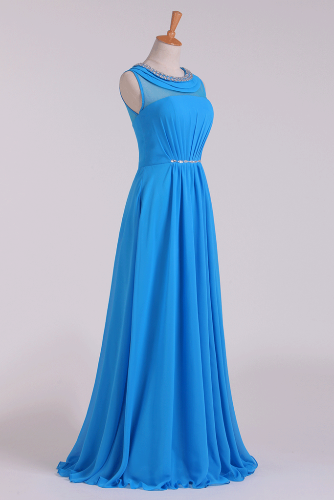 2019 Prom Dresses Scoop A Line Chiffon Beaded Floor Length