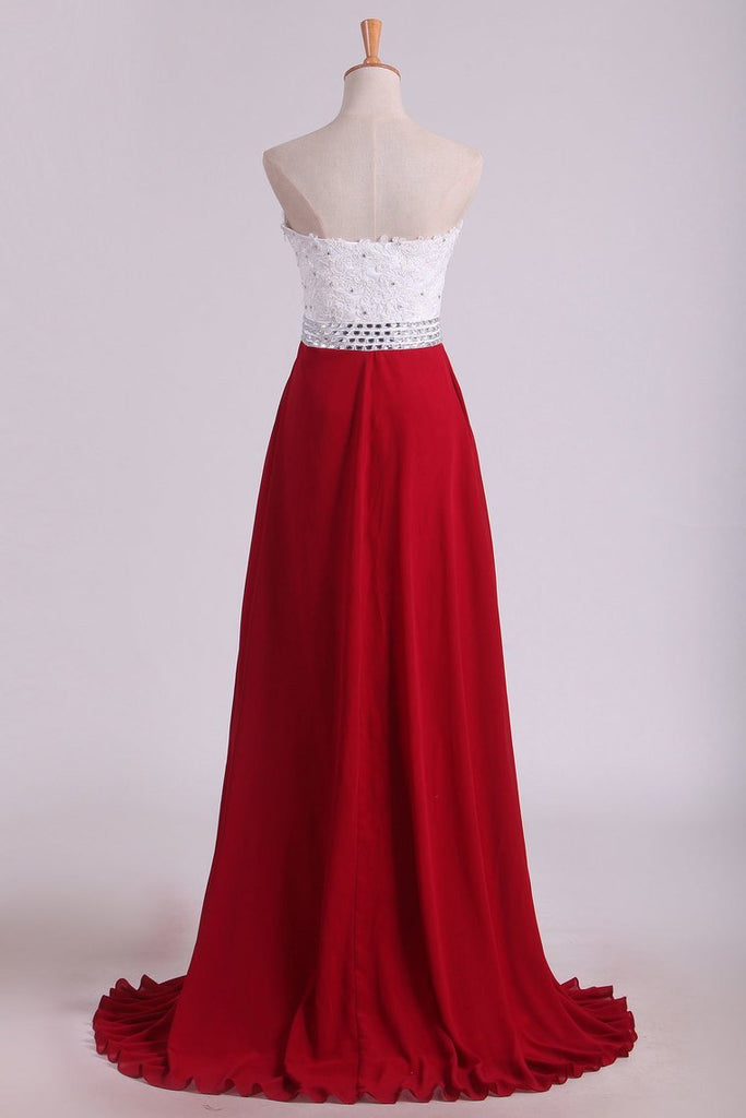Chiffon With Applique And Beads Prom Dresses Sweetheart A Line