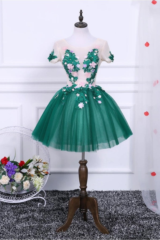 A Line Short Sleeves Tulle Floral Appliques Short Homecoming Dresses