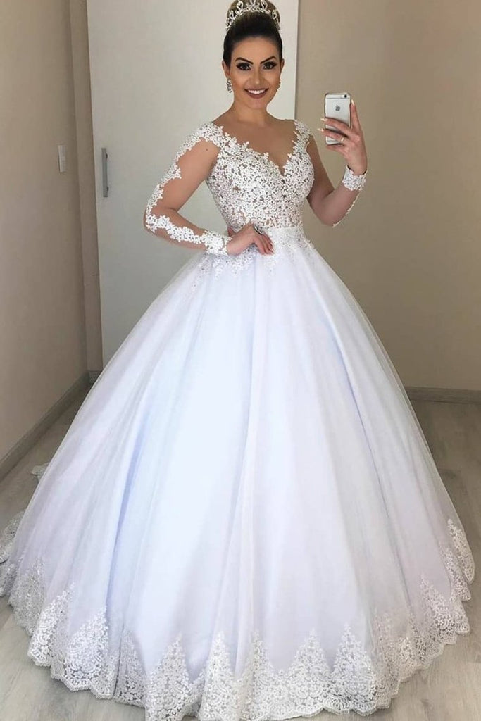 Ball Gown Illusion Sleeves White Wedding Dress With Lace Appliques