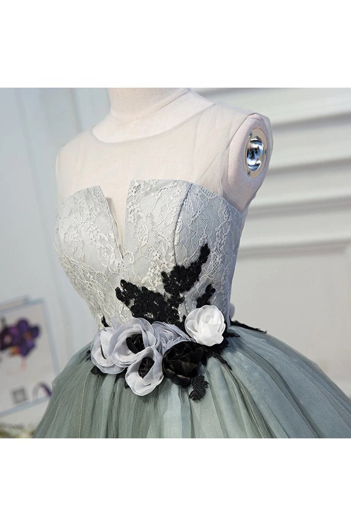 A Line Tulle Flowers Short Homecoming Dresses Zipper Up