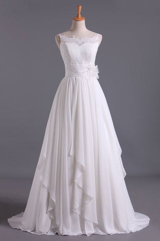 Spaghetti Straps With Applique & Handmade Flowers Chiffon A Line Wedding Dresses