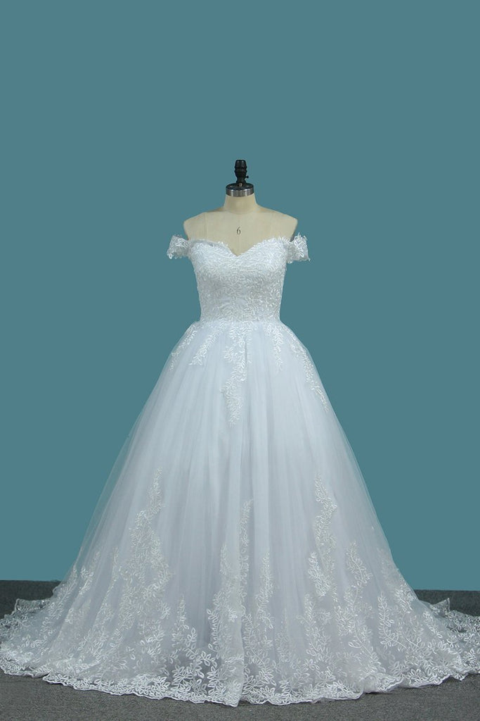 Tulle A Line Off The Shoulder Wedding Dresses With Applique Sweep Train