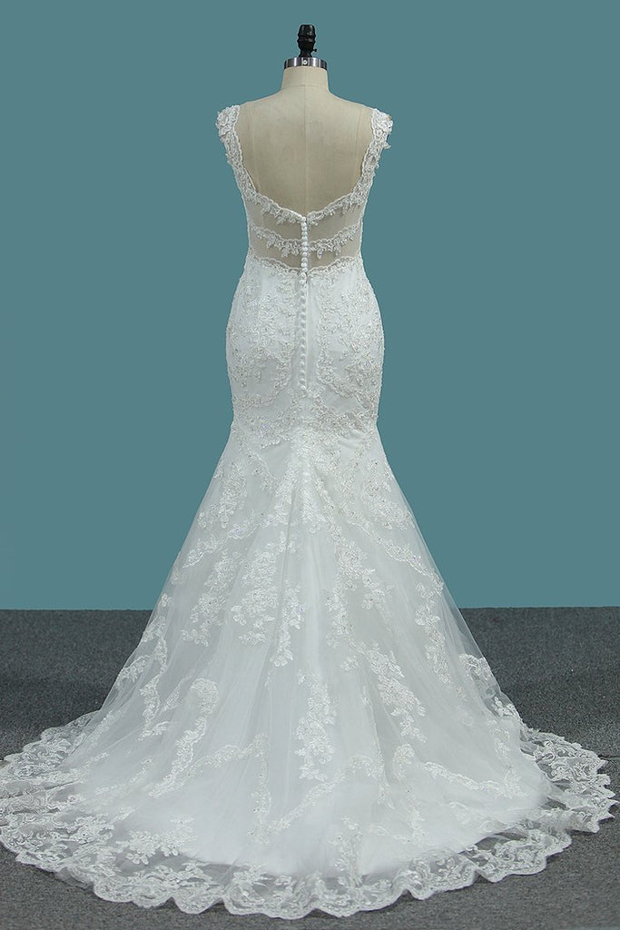 Mermaid Wedding DressesV Neck Tulle With Applique Mermaid Court Train
