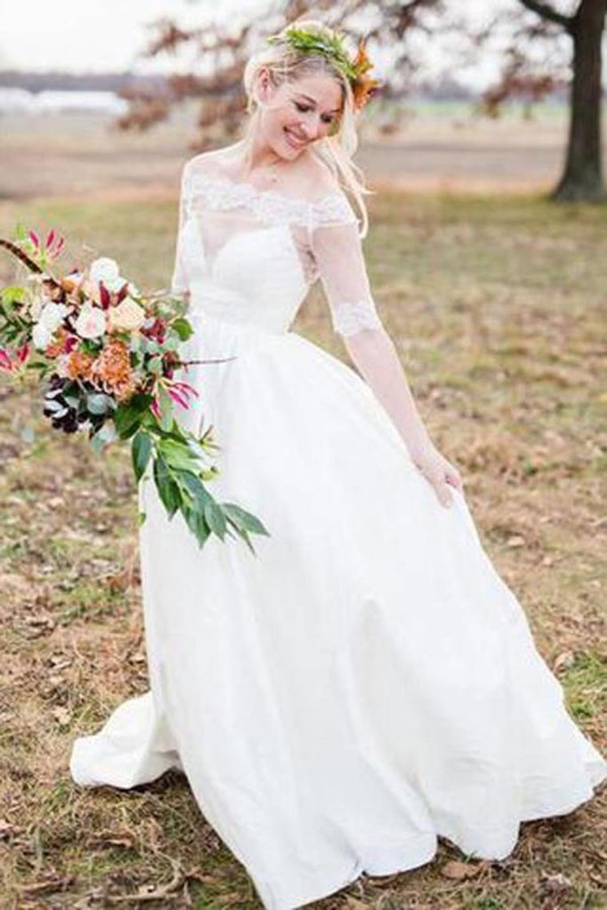 Simple Elegant Long A-Line Ivory Wedding Dresses With Sleeves