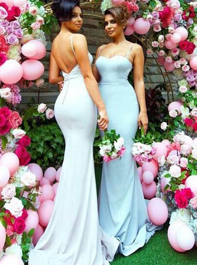 Sweetheart Sweep Train Open Back Mermaid Spaghetti Straps Bridesmaid Dresses JS212