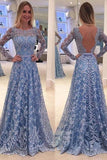 Blue Backless Lace Long Sleeves Jewel Bowknot Sweep Train Long Prom Dress
