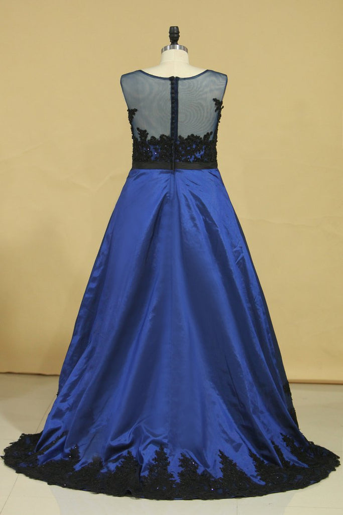 2019 Plus Size Asymmetrical Bateau Prom Dresses Taffeta With Applique And Sash Sweep Train Dark Royal Blue