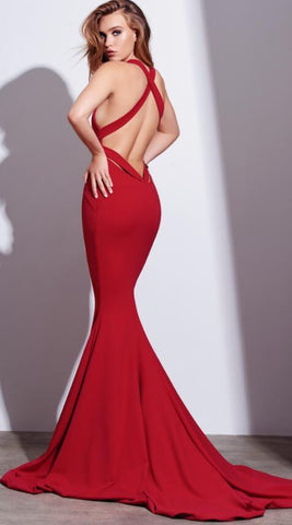 Sexy Red Mermaid Long Prom Dress Formal Evening Dress with Criss Criss Back JS731