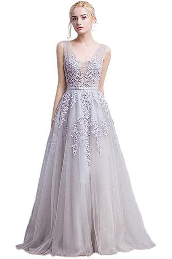 Blush A-Line V-Neck Sleeveless Gray Zipper Appliques Party Dress Prom Dresses JS162