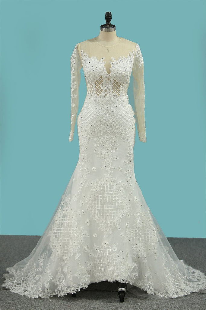Mermaid Tulle Wedding Dresses Long Sleeves Scoop With Applique