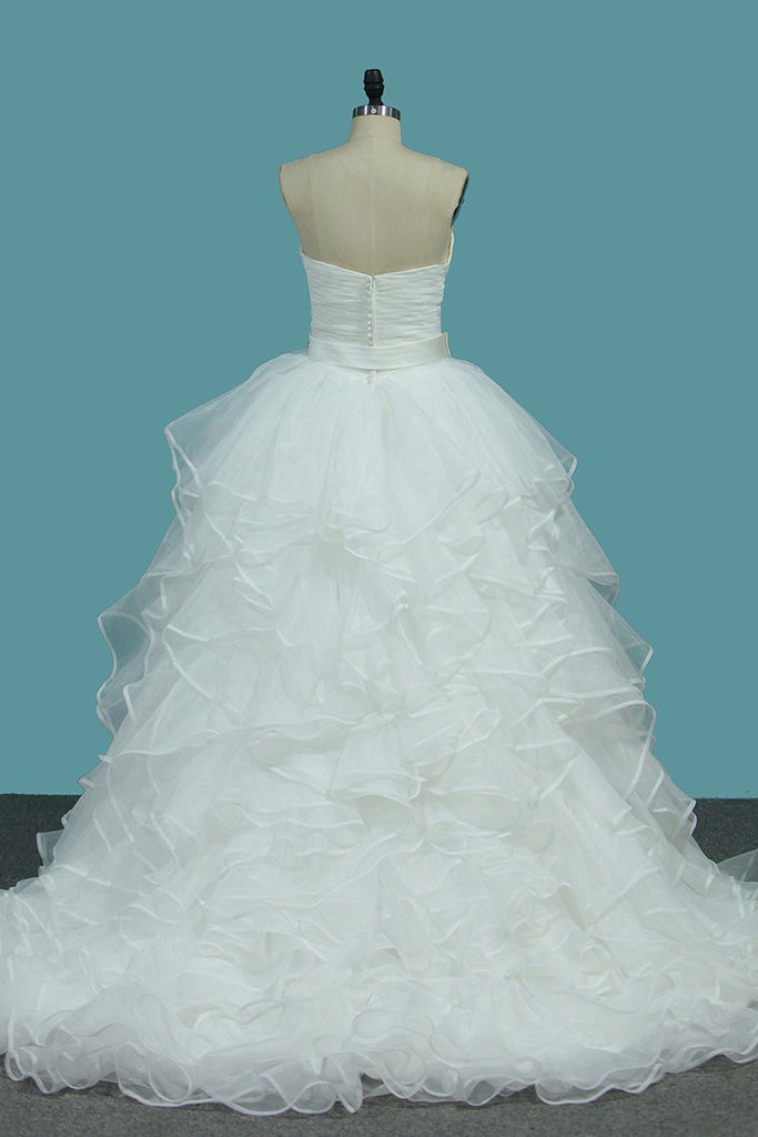 Organza A Line Sweetheart Bridal Dresses With Covered Button Court Train