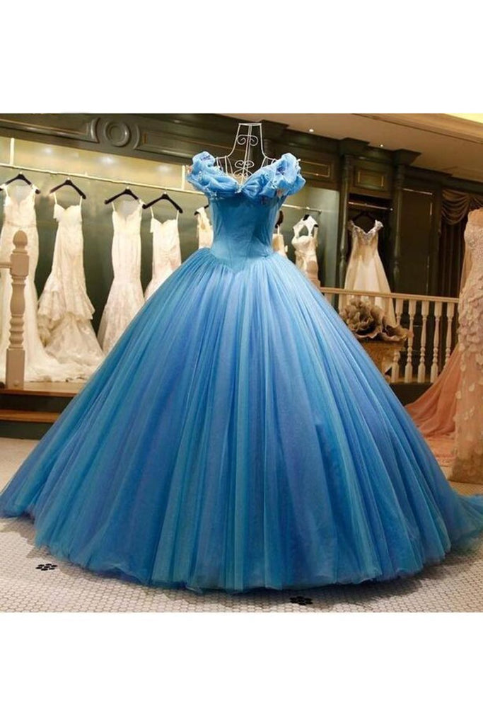 2019 Off The Shoulder Ball Gown Tulle Quinceanera Dresses Sweep Train