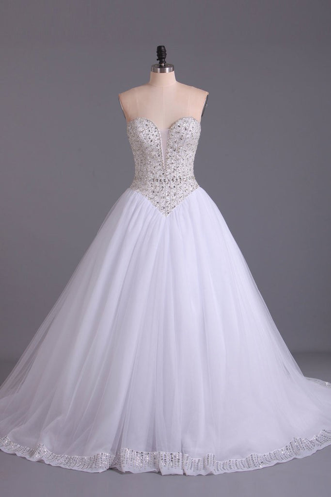 Sweetheart Bridal Dresses A-Line Tulle White Zipper Back Court Train
