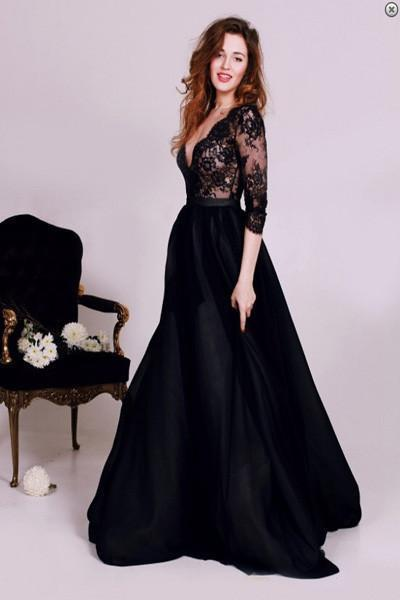 Black prom dress A-line evening dresses Long prom dress Dress for Prom prom dress SVD304