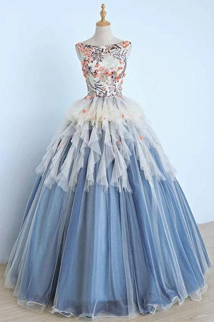 Princess Ball Gown Appliques Blue Tulle Prom Dresses, Sweet 16 Dress, Quinceanera Dress SSM15289