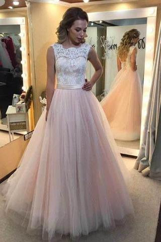Charming Long Tulle Prom Dress with Lace Elegant Formal Evening Dresses Women Dress JS753