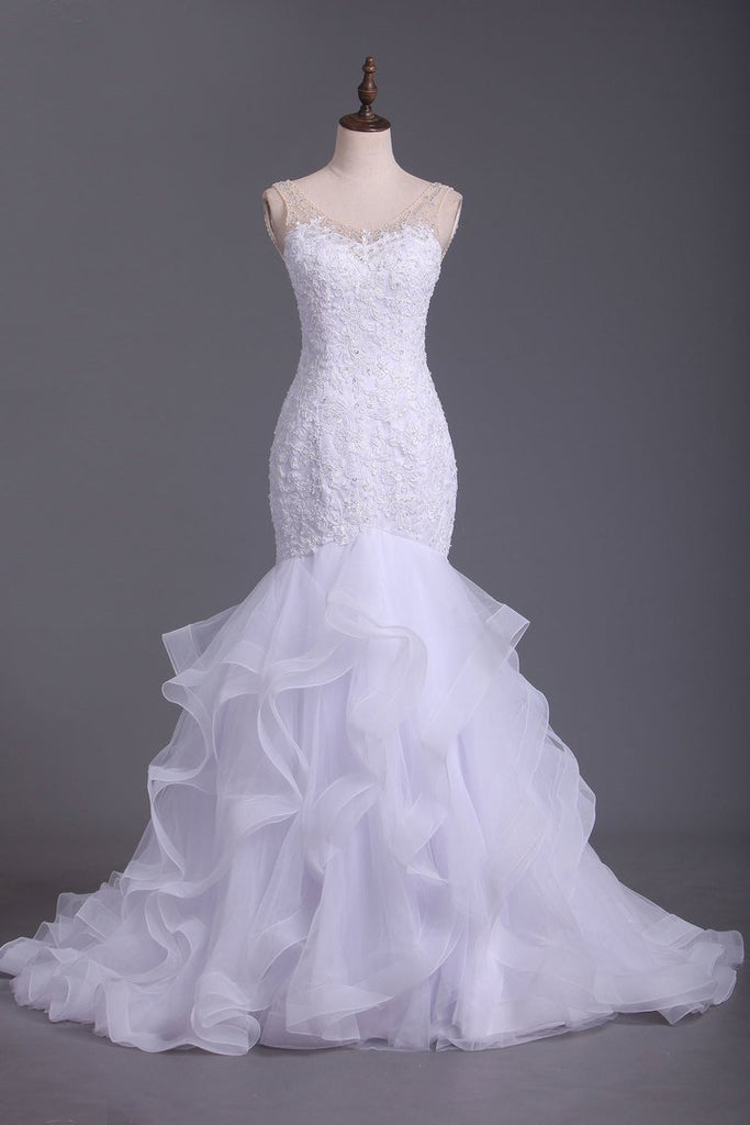 V Neck Tulle With Applique And Beads Court Train Wedding Dresses
